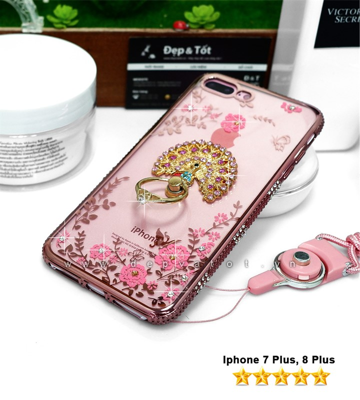 op lung iphone 7 plus, 8 plus deo hinh hoa